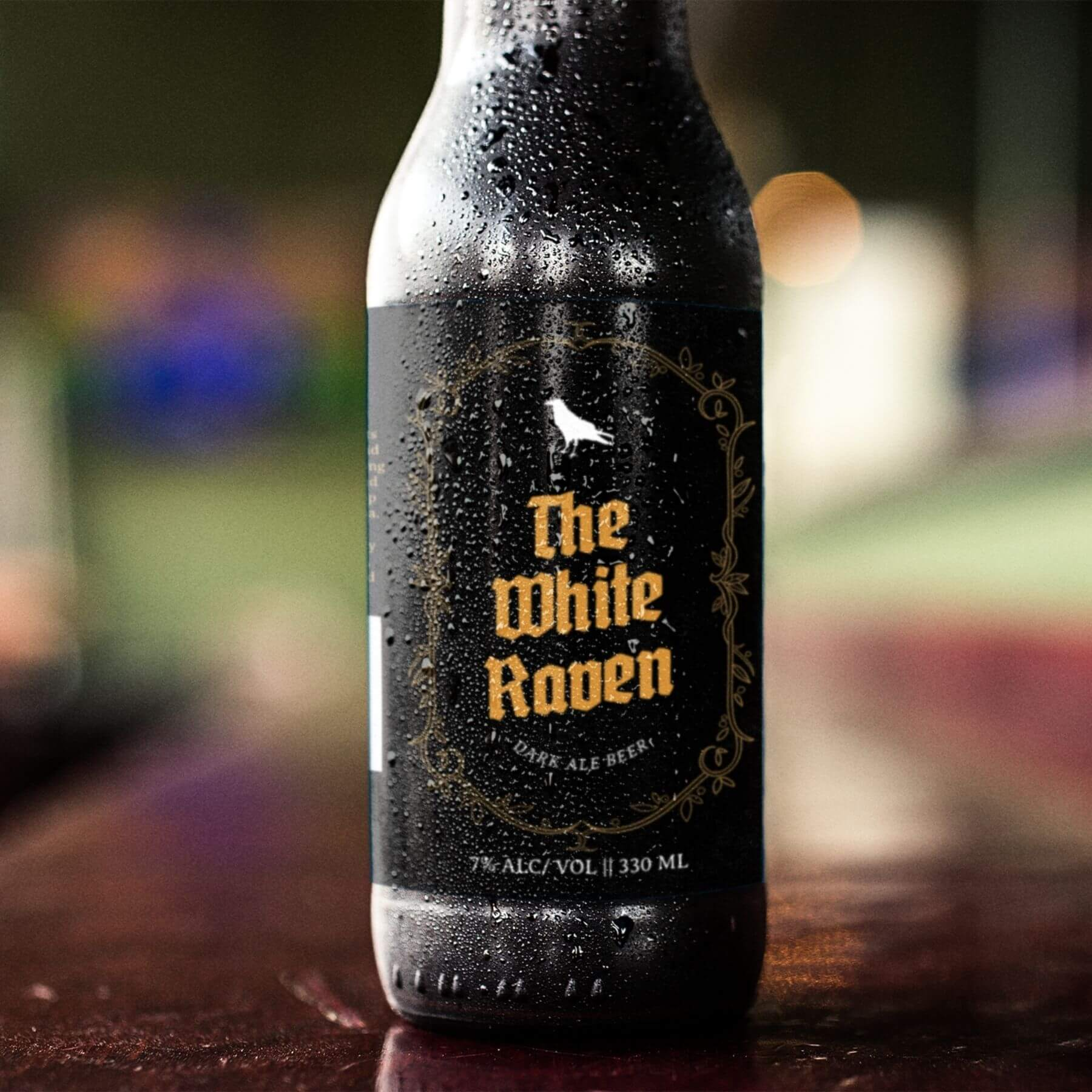 The White Raven Dark Ale Beer Branding and Packaging Designed by Finnix Solutions